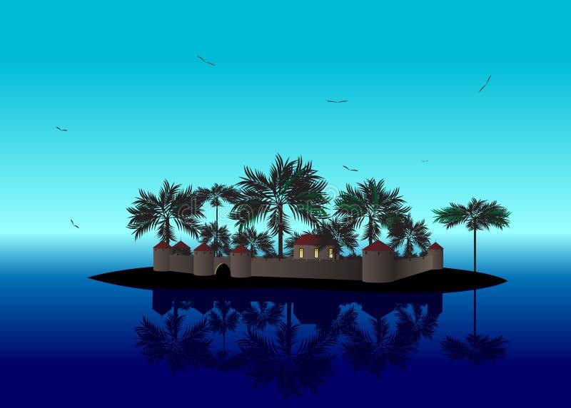 Overzees landschap royalty-vrije illustratie