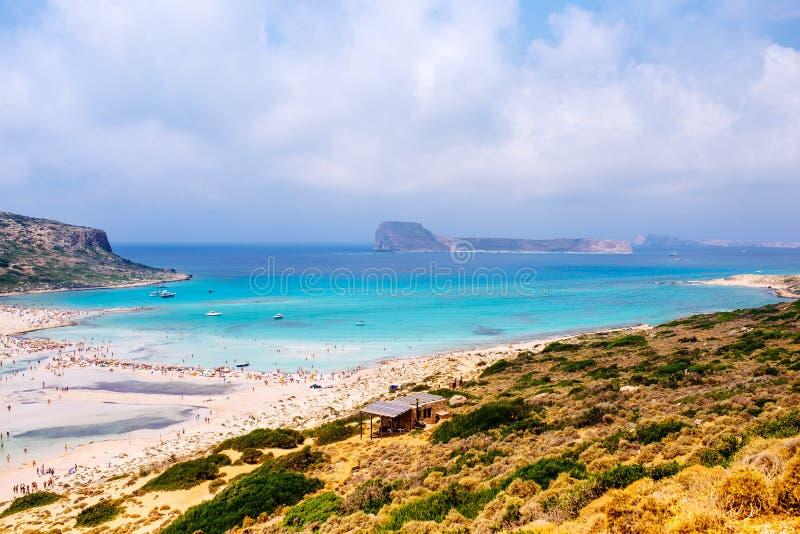 overzees landschap, mening van bovengenoemd eiland Balos, Lagune De stranden van Kreta, Griekenland Perfecte vakantie royalty-vrije stock foto's