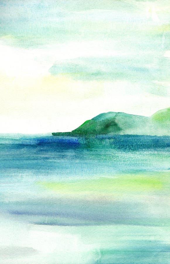 Overzees landschap, Overzeese kant, strand, bergen Mooie waterverfhand het schilderen illustratie royalty-vrije illustratie