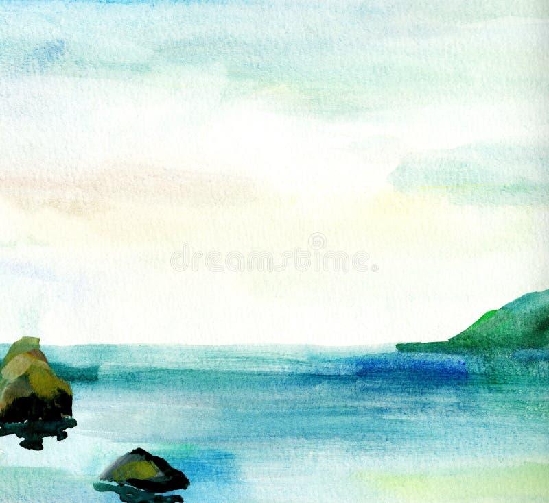 Overzees landschap, Overzeese kant, strand, bergen, stenen Mooie waterverfhand het schilderen illustratie vector illustratie