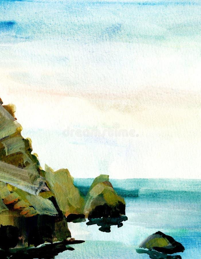 Overzees landschap, Overzeese kant, strand, rotsen Mooie waterverfhand het schilderen illustratie stock illustratie