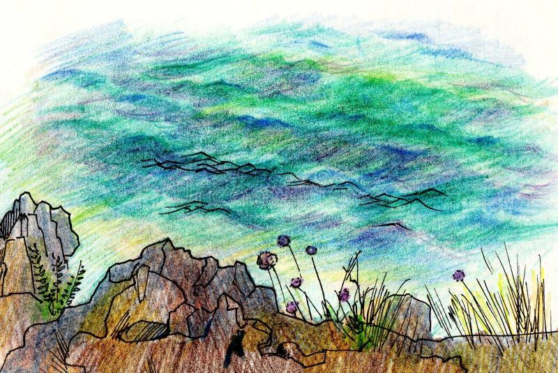 Overzees landschap, Overzeese kant, strand, stenen, bloemen Mooie hand het schilderen illustratie vector illustratie