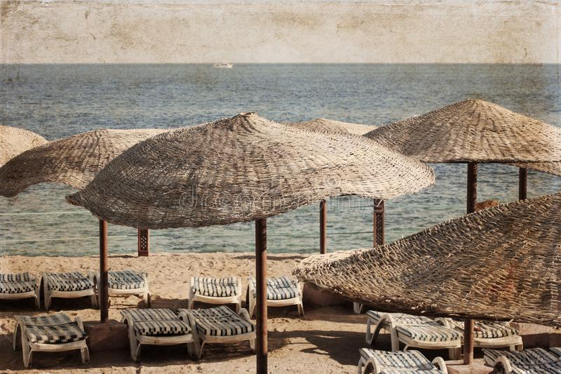 Overzees landschap; strandparaplu's; Egypte; royalty-vrije stock fotografie