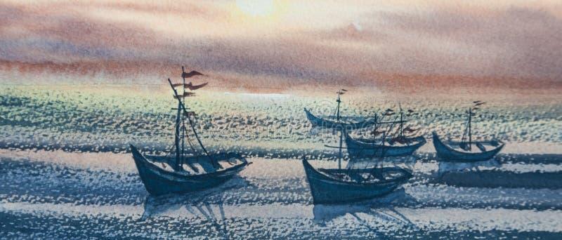 Overzees met vissersboten in zonsondergangtijd royalty-vrije illustratie