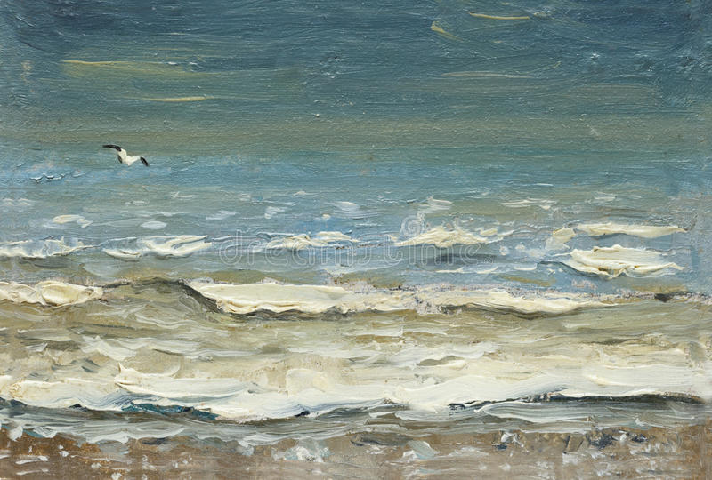 Overzees na de onweers schuimende golven en de zeemeeuwen over het water het schilderen van olie op canvas royalty-vrije illustratie