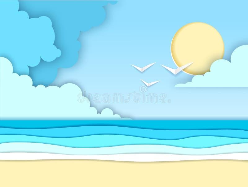 Overzees of oceaanlandschap, ontwerp van de overzeese het strand verwijderde document kunststijl vector illustratie