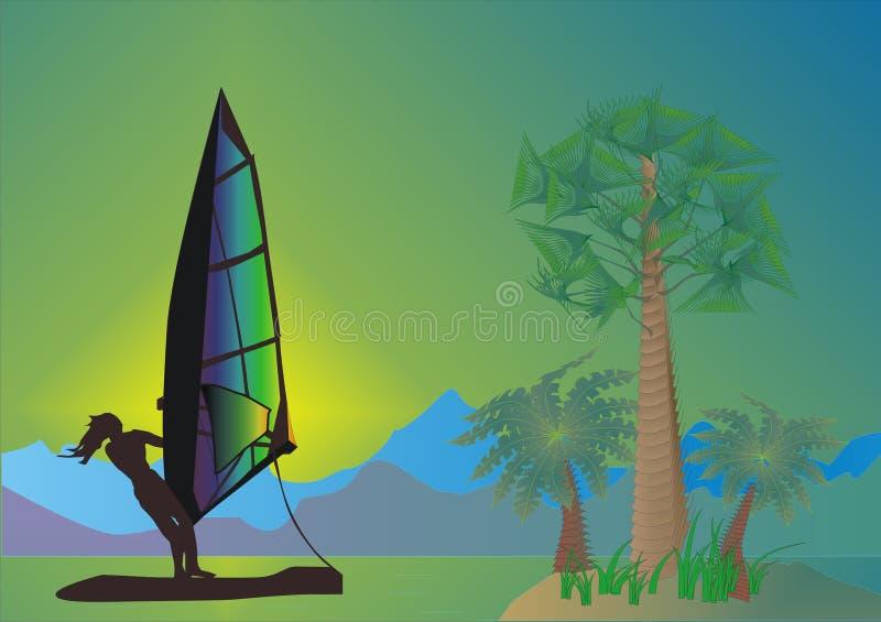 Overzees, palmen en windsurfer vector illustratie