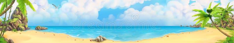 Overzees panorama Tropisch strand Het kan voor prestaties van het ontwerpwerk noodzakelijk zijn vector illustratie