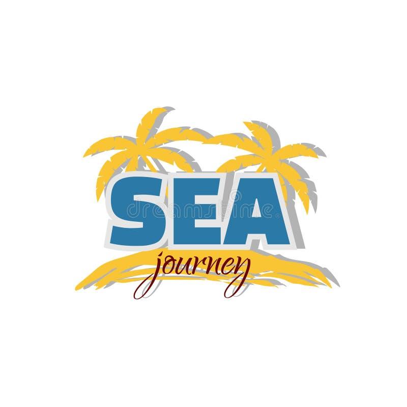 Overzees Reispictogram Palmen en kust op een witte achtergrond Embleem voor reisbedrijf vector illustratie