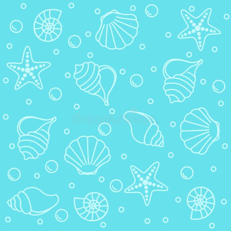 Overzees schepselen naadloos patroon vector illustratie