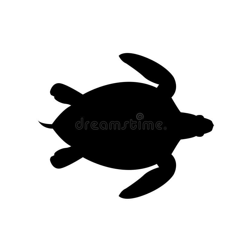 Overzees schildpad vectorsilhouet vector illustratie