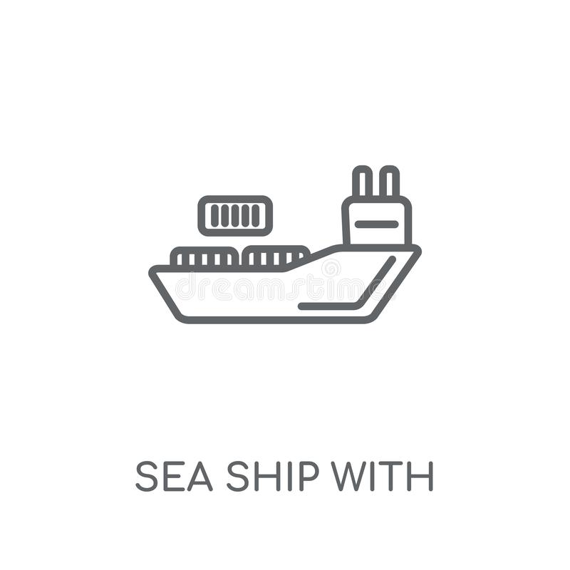 Overzees schip met containers lineair pictogram Moderne overzichts Overzeese schipwi vector illustratie