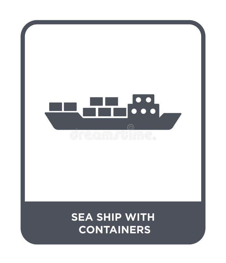 overzees schip met containerspictogram in in ontwerpstijl overzees die schip met containerspictogram op witte achtergrond wordt g stock illustratie