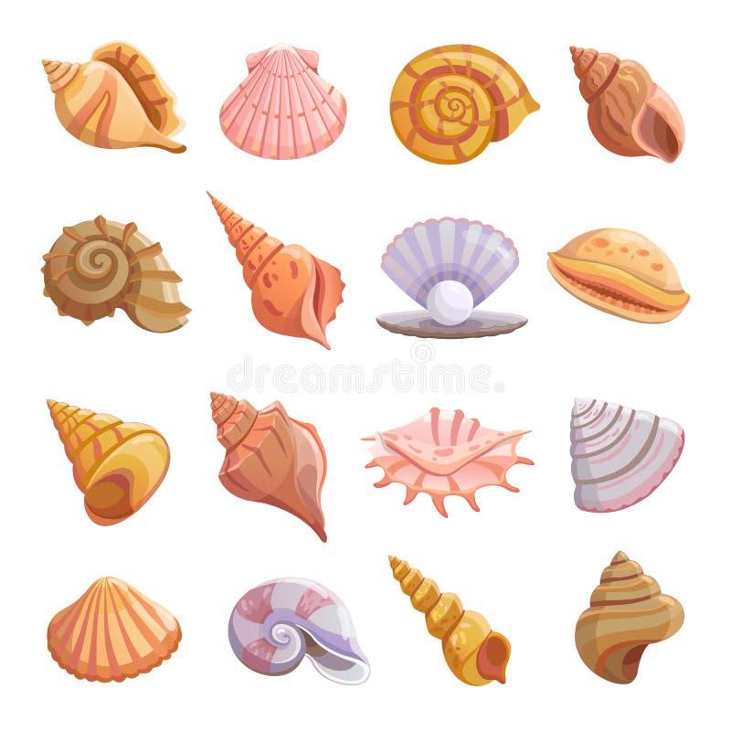 Overzees shell geplaatste strandpictogrammen, beeldverhaalstijl vector illustratie