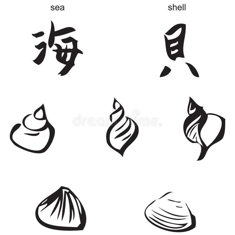 Overzees, shells - Chinese kalligrafie royalty-vrije stock afbeelding