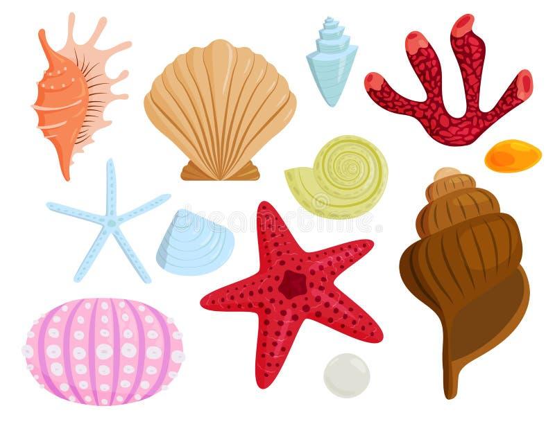 Overzees shells marien beeldverhaal schelpdier-SHELL en oceaanzeester koraalachtige vectorillustratie vector illustratie