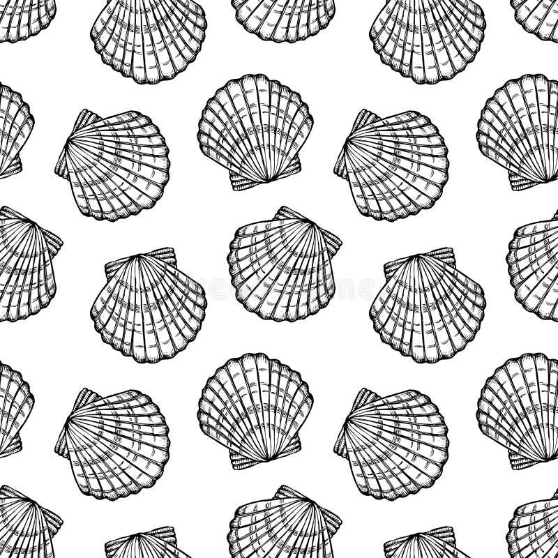 Overzees shells naadloos vectorpatroon stock illustratie