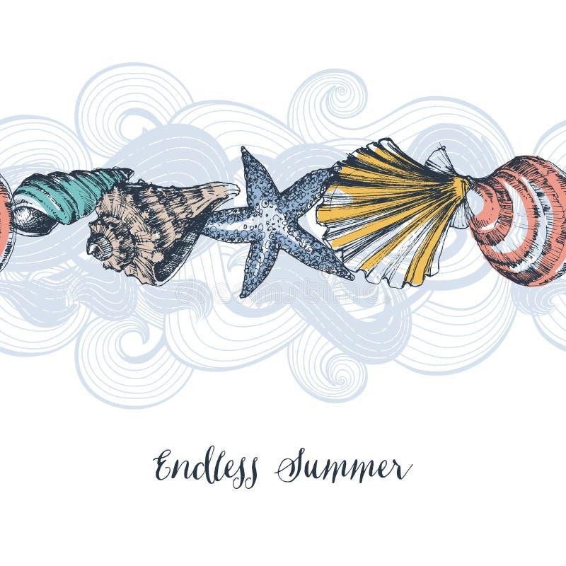 Overzees shells patroon stock illustratie