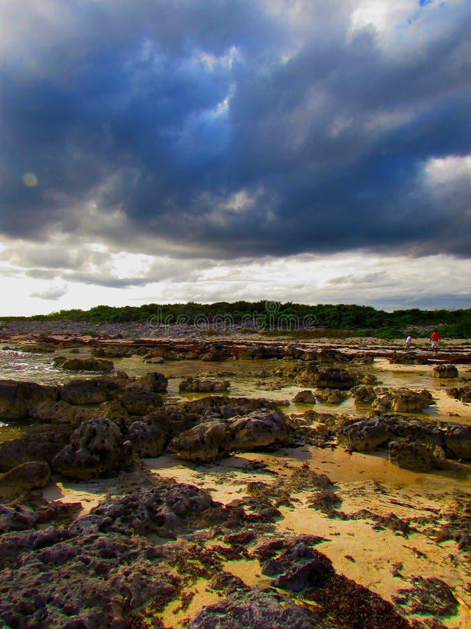 Overzees strand en de blauwe hemel stock foto's