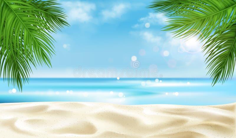 Overzees strand met de achtergrond van palmbladeren, de zomer vector illustratie