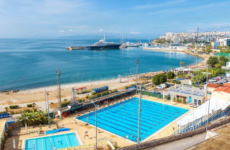 Overzees strand in Piraeus, Athene, Griekenland stock afbeelding