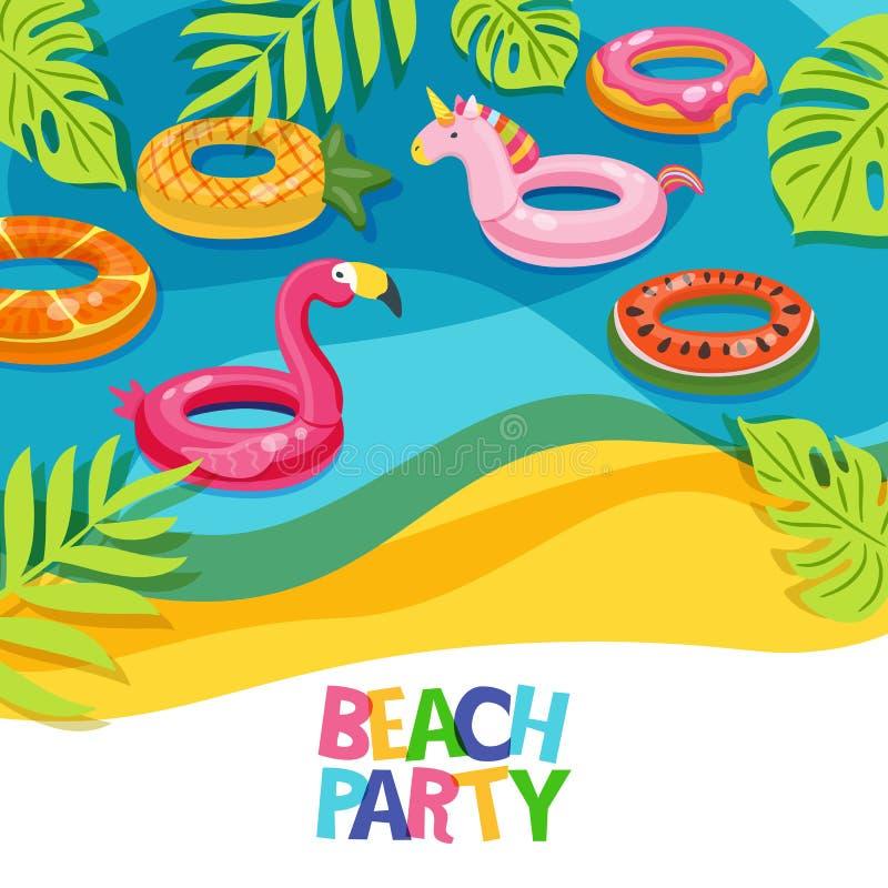 Overzees strand of zwembad met de flamingo van vlotterringen, eenhoorn, watermeloen Vectorhand getrokken krabbelillustratie stock illustratie