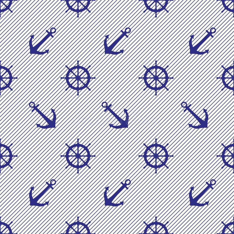 Overzees twee kleurt patroon van de stuurwielen en de ankers van het schip op een gestreepte achtergrond royalty-vrije illustratie