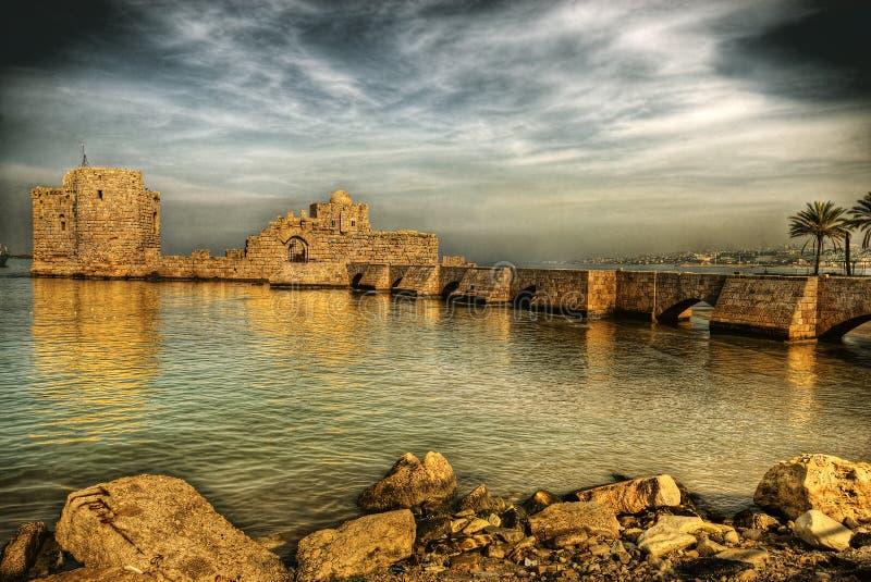 Overzees van de kruisvaarder Kasteel, Sidon (Libanon) royalty-vrije stock foto's