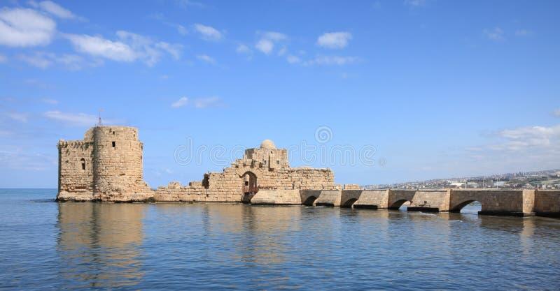 Overzees van de Kruisvaarder van Sidon Kasteel (Libanon) stock afbeeldingen