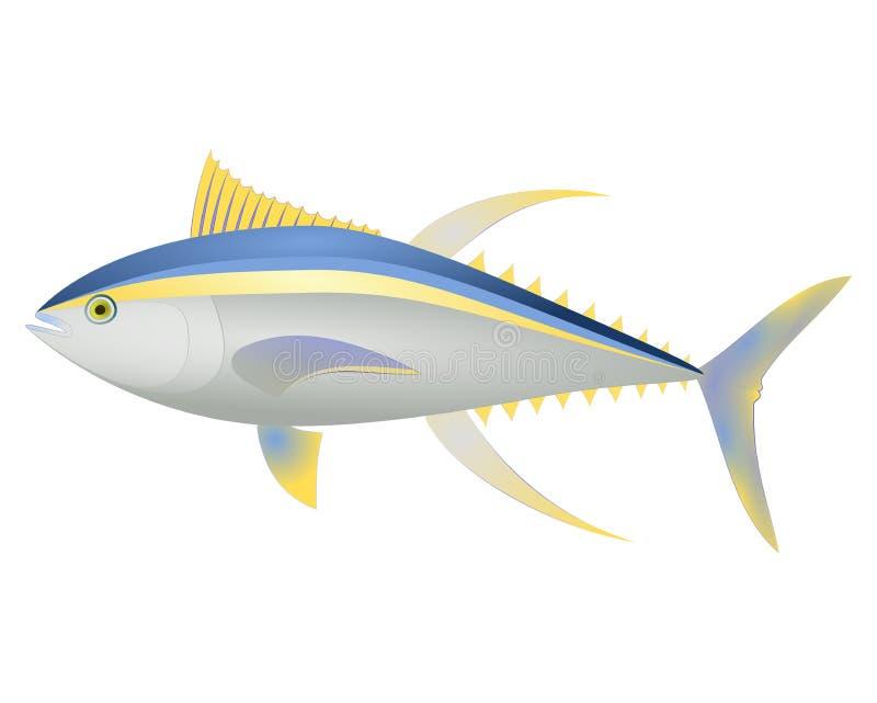 Overzees van de Yellowfishtonijn vector Geel en blauw gestreept dierlijk realistisch karakter met het lange Overzeese van de vinn stock illustratie