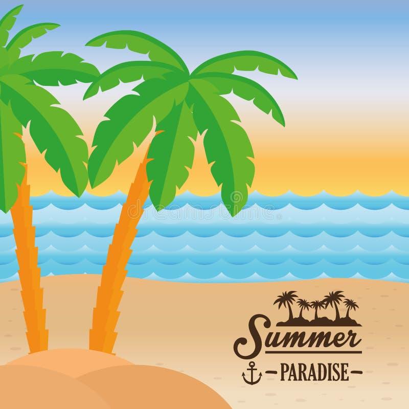 Overzees van het het paradijsstrand van de affichezomer palmontwerp vector illustratie