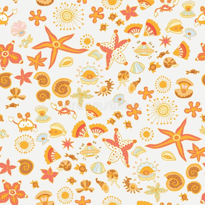 Overzees van krabbeljonge geitjes dieren naadloos vectorpatroon stock illustratie