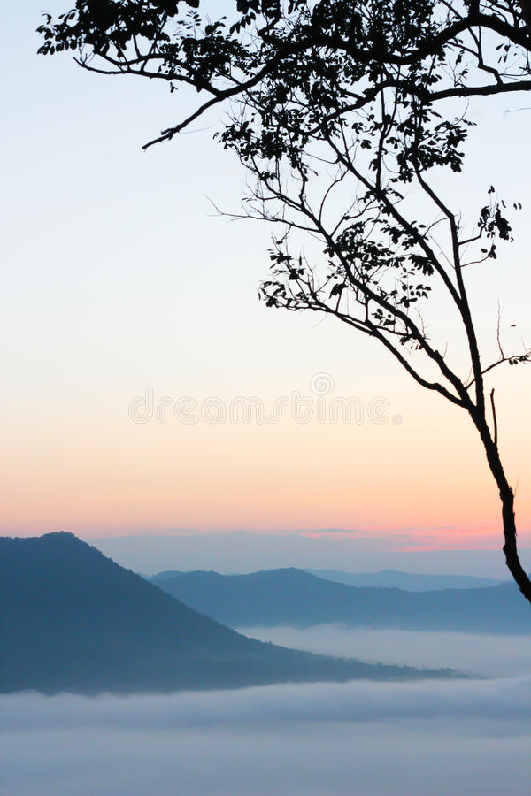 Overzees van mist en zonsondergang op berg royalty-vrije stock afbeelding
