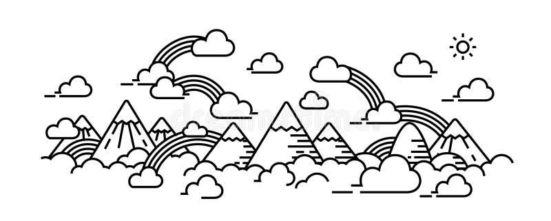 Overzees van wolken op hoogste hoge panoramamening royalty-vrije illustratie