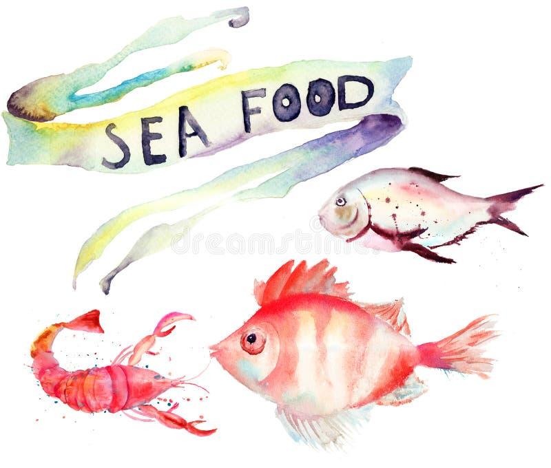Overzees voedsel royalty-vrije illustratie