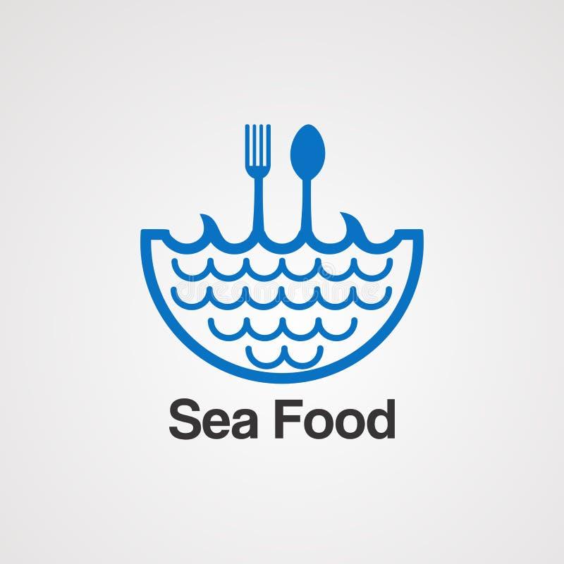Overzees voedsel met het embleem vectorconcept, pictogram, element, en malplaatje van de watergolf voor bedrijf royalty-vrije illustratie