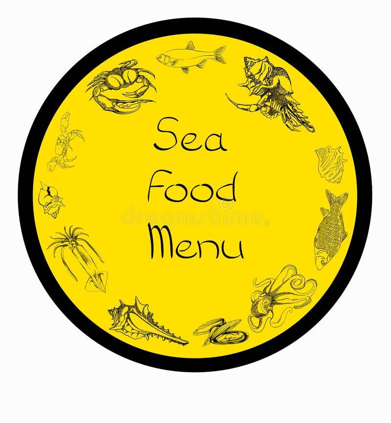 Overzees voedsel vastgesteld menu stock illustratie