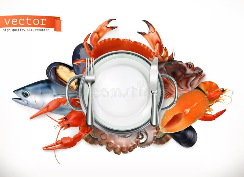 Overzees voedselembleem Vissen, krab, rivierkreeften, mosselen en octopus 3d vectorpictogram vector illustratie