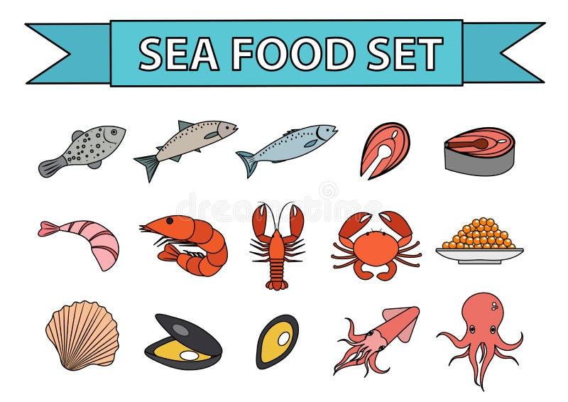Overzees voedselpictogrammen geplaatst vector Modern, lijn, krabbelstijl Zeevruchteninzameling op witte achtergrond wordt geïsole royalty-vrije illustratie