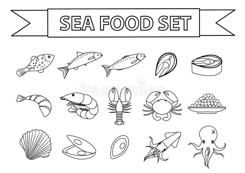 Overzees voedselpictogrammen geplaatst vector Modern, lijn, krabbelstijl Zeevruchteninzameling op witte achtergrond wordt geïsole stock illustratie