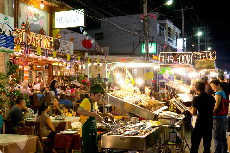 Overzees voedselrestaurant in Thailand stock foto