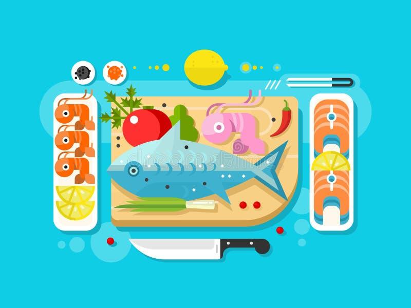Overzees voedselvisproduct stock illustratie