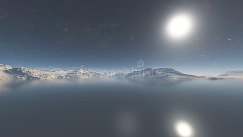 Overzees in vreemde 3d planeet-3d illustratie - geef terug royalty-vrije illustratie