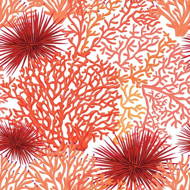 Overzees wereld naadloos patroon, achtergrond De VectorIllustratie van de voorraad stock illustratie
