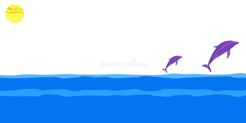 Overzees, zon en dolfijnen Het VectorMalplaatje van Editable vector illustratie