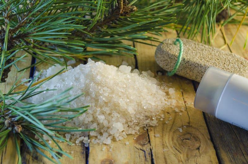Overzees zout met een uittreksel van een naaldboom stock foto