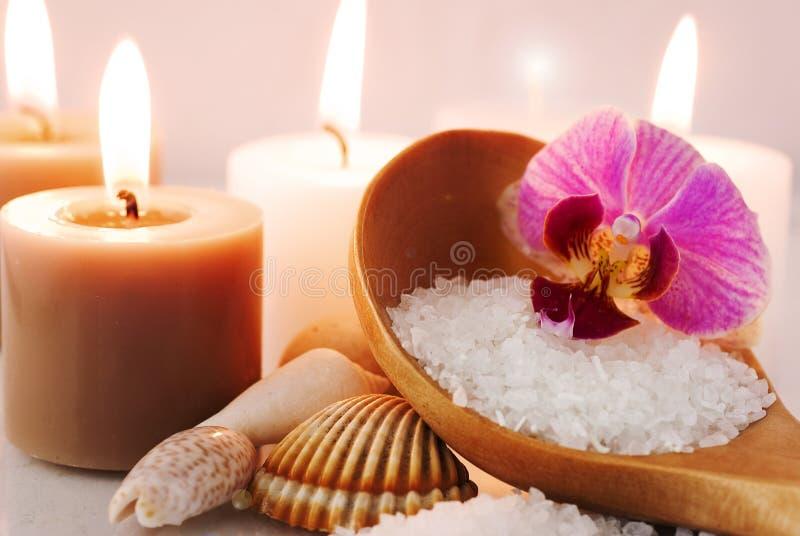 Overzees zout met orchidee royalty-vrije stock foto's