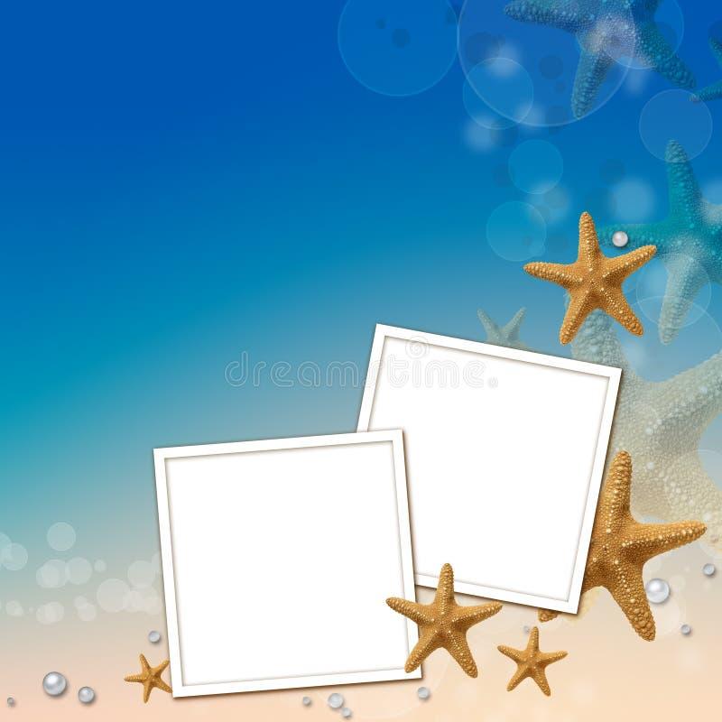 Overzeese achtergrond met frames vector illustratie