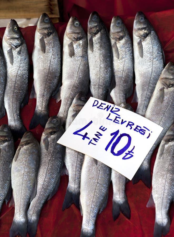 Overzeese baarzen bij vissenmarkt royalty-vrije stock fotografie