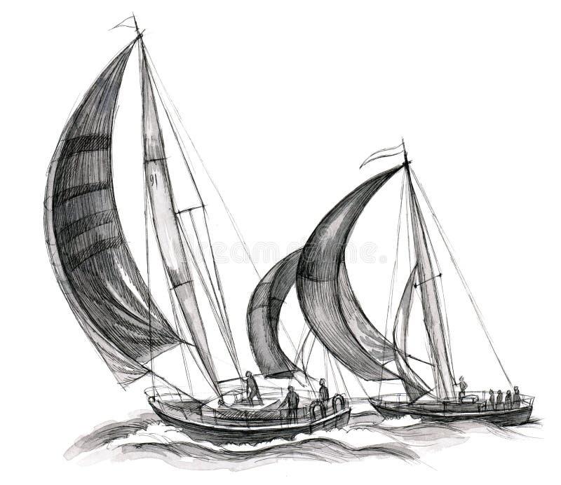 Overzeese boten stock illustratie